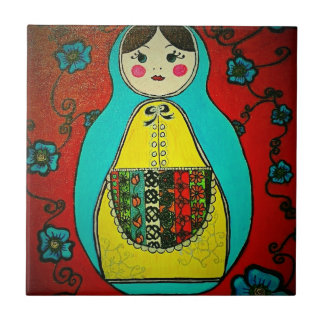 matryoshka russian nesting doll ceramic tile