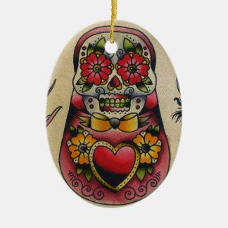 matryoshka sugar skull ceramic ornament