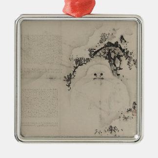 Matsu ni yukidaruma metal ornament