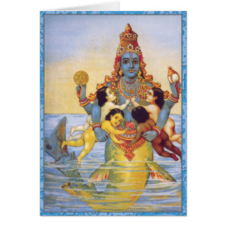 Matsya with the Vedas as Infants Card