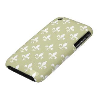 Matt Gold & White Fleur De Lis Pattern Case-Mate iPhone 3 Case