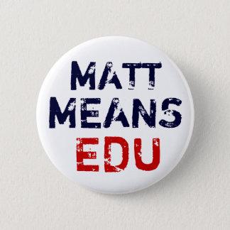 """Matt """"Means"""" Education 6 Cm Round Badge"""