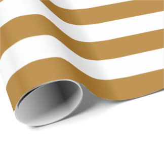 Matte Gold/White Stripe Wrapping Paper