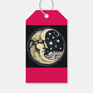 MATTE vintage-GIFT TAG -moon-with-stars