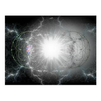 Matter-antimatter collision postcard
