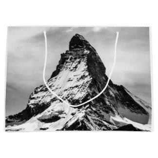 Matterhorn, Alps black and white Large Gift Bag