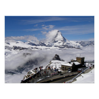 Matterhorn mountain and Gornergrat station Poster