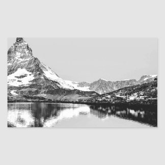 Matterhorn mountain black and white landscape rectangular sticker