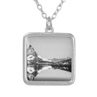 Matterhorn mountain black and white landscape silver plated necklace