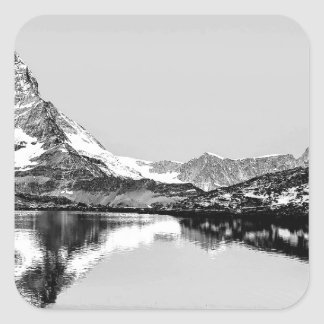 Matterhorn mountain black and white landscape square sticker