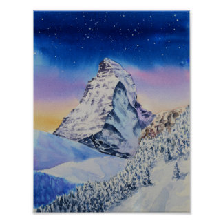 Matterhorn mountain in snow at winter evening poster