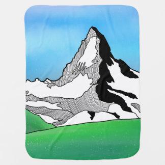 Matterhorn Switzerland Line art watercolor Baby Blanket