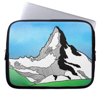 Matterhorn Switzerland Line art watercolor Laptop Sleeve