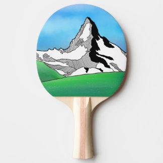 Matterhorn Switzerland Line art watercolor Ping Pong Paddle