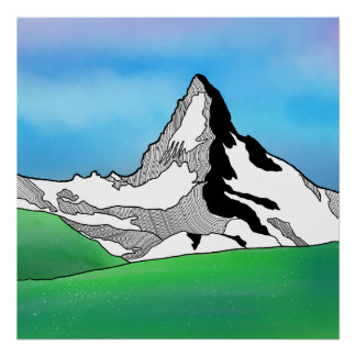 Matterhorn Switzerland Line art watercolor Poster