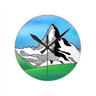 Matterhorn Switzerland Line art watercolor Round Clock