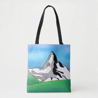 Matterhorn Switzerland Line art watercolor Tote Bag