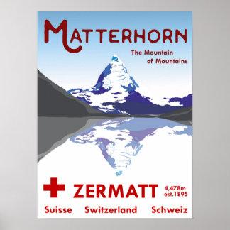 Matterhorn, Zermatt, Switzerland, Ski Poster