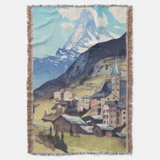 Matterhorn, Zermatt Switzerland Vintage Art Print Throw Blanket