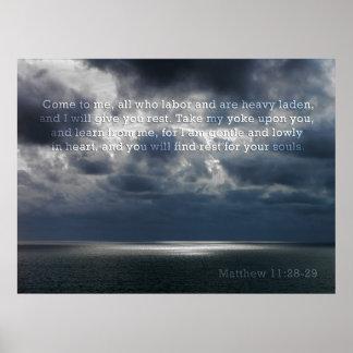 Matthew 11:28-29 Poster