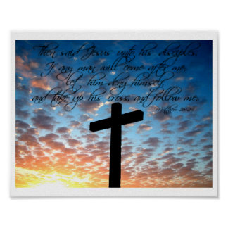 Matthew 16:24 Bible Scripture Art Print