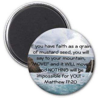Matthew 17:20  Motivational Bible Quote 6 Cm Round Magnet