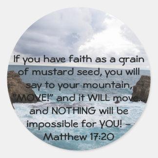 Matthew 17:20  Motivational Bible Quote Classic Round Sticker