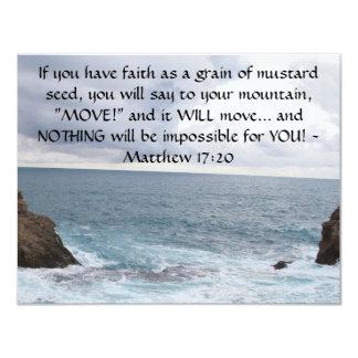 "Matthew 17:20  Motivational Bible Quote 4.25"" X 5.5"" Invitation Card"