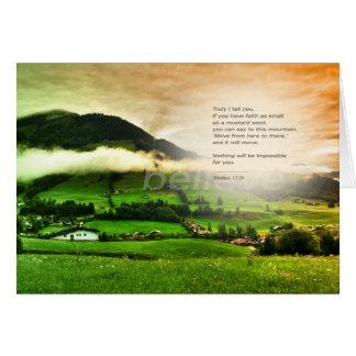 Matthew 17:20 Move mountains bible verse sunset Card