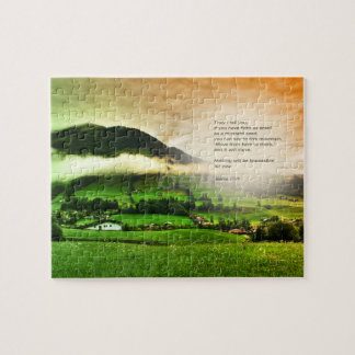Matthew 17:20 Move mountains bible verse sunset Jigsaw Puzzle