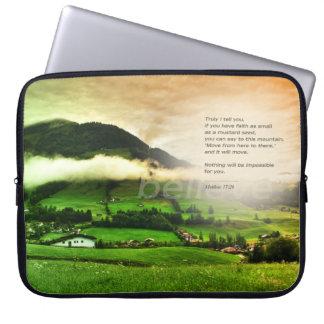 Matthew 17:20 Move mountains bible verse sunset Laptop Computer Sleeve