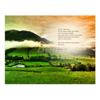 Matthew 17:20 Move mountains bible verse sunset Postcard