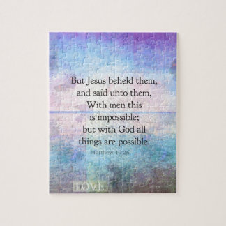 Matthew 19:26 Inspirational Bible Verse with art Jigsaw Puzzle