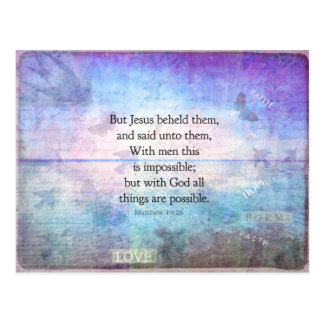 Matthew 19:26 Inspirational Bible Verse with art Postcard