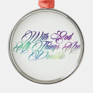Matthew 19:26 metal ornament
