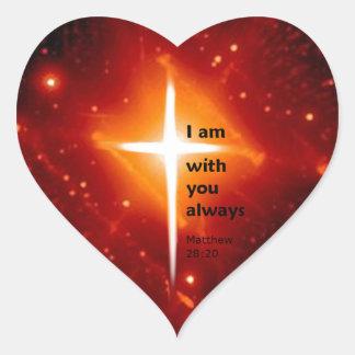 Matthew 28:20 heart sticker
