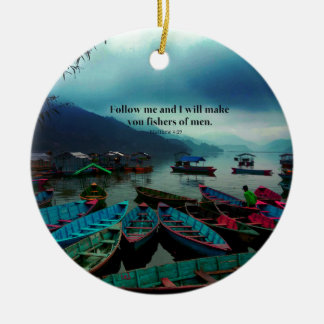 Matthew 4.19 Christian Art  Bible Verse Boats Double-Sided Ceramic Round Christmas Ornament