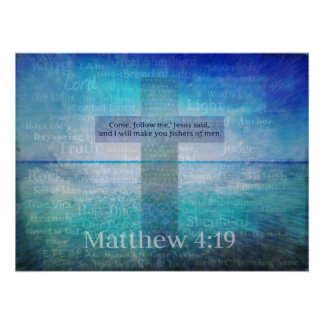Matthew 4:19 Fishers of Men Bible Verse Poster