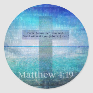 Matthew 4:19 Inspirational Bible Verse Classic Round Sticker