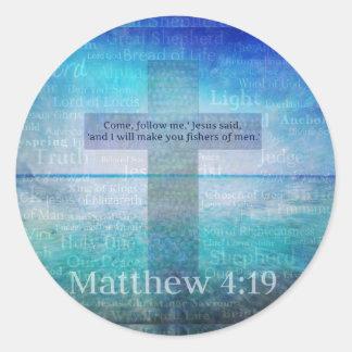 Matthew 4:19 Inspirational Bible Verse Classic Round Sticker