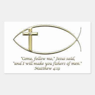 Matthew 4:19 rectangular sticker