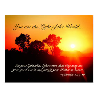 Matthew 5 14-16 Let Your Light Shine, Bible Verse Postcard