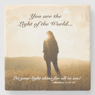 Matthew 5 14-16 You are the Light of the World Stone Coaster