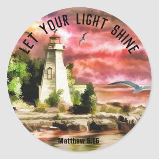 Matthew 5:16 Lighthouse Let Your Light Shine Classic Round Sticker