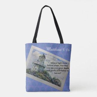 Matthew 5:16 tote bag