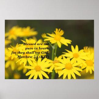 Matthew 5:8 Biblical Verse with Golden Flowers Poster