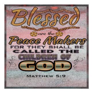 Matthew 5:9 20 x 20 Poster for Christians