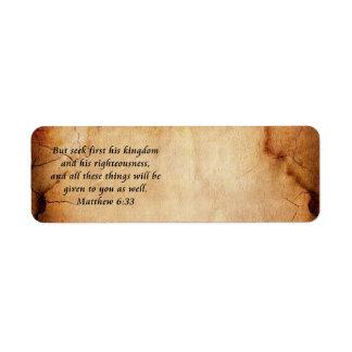 Matthew 6:33 address label