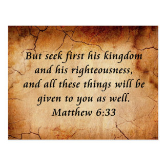 Matthew 6:33 Bible Verse Postcard