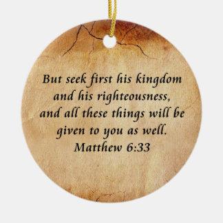 Matthew 6:33 Bible Verse Round Ceramic Decoration
